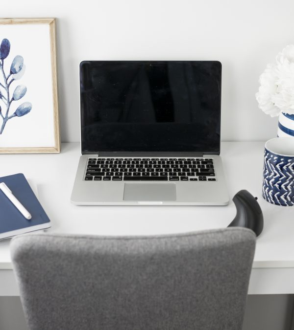 Blue and Silver Styled Office Stock Photos-11